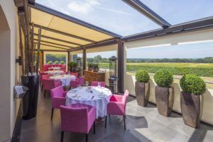 Outdoor Dining Canopy Overlooking Fields